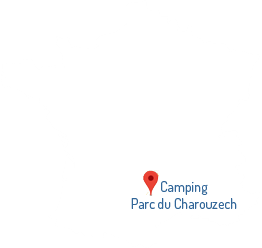 Geographic situation in France of the campsite Parc du Charouzech in Aveyron